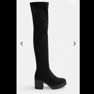 Black Faux Suede Over The Knee Cleated Boots